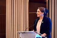 Warsaw, Poland - 2018 November 08: Mariam Saeed Hareb Al Muhairi - Minister of State for Food Security (UAE) speaks while Polish - Emirati Business Forum on Raffles Europejski Hotel on November 08, 2018 in Warsaw, Poland.<br /> <br /> Adam Nurkiewicz declares that he has no rights to the image of people at the photographs of his authorship.<br /> <br /> Picture also available in RAW (NEF) or TIFF format on special request.<br /> <br /> Any editorial, commercial or promotional use requires written permission from the author of image.<br /> <br /> Image can be used in the press when the method of use and the signature does not hurt people on the picture.<br /> <br /> Mandatory credit:<br /> Photo by © Adam Nurkiewicz