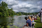 Henley Royal Regatta, 3-7 July 2019. Spectators watch, as, S. Lu & Y. Wang China, Chinese National Rowing Team, CHN,(top Left) and C. Baer & J. Richter , Heilbronner Rudergesellschaft Schwaben and Ruderclub am Wannsee, Berlin, (bottom Right)race away from the Start, in the Semi-Final, of the Stonor Challenge Trophy, (Royal Henley Peace Regatta Centenary, 1919-2019. Henley on Thames.<br /> <br /> <br /> <br /> [Mandatory Credit: Patrick WHITE/Intersport Images], 6, 06/07/2019,  10:40:42