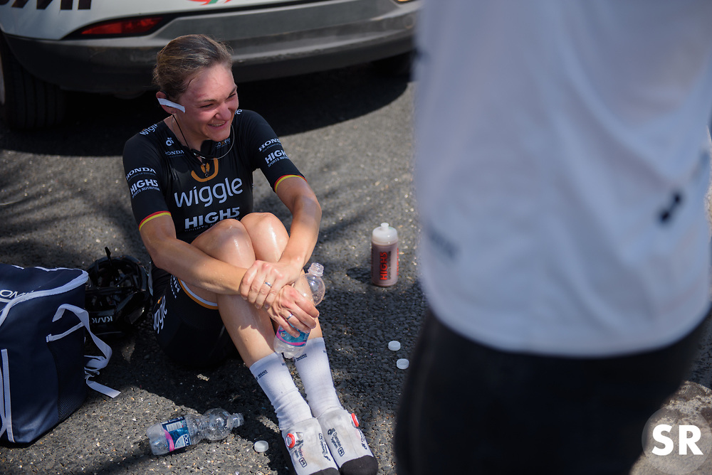 Claudia Lichtenberg reflects on completing her final Giro Rosa after Stage 10 of the Giro Rosa - a 124 km road race, starting and finishing in Torre Del Greco on July 9, 2017, in Naples, Italy. (Photo by Sean Robinson/Velofocus.com)
