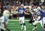 INDIANAPOLIS, IN - JANUARY 16: Peyton Manning #18 of the Indianapolis Colts passes the football during the AFC Divisional playoff against the Tennessee Titans at the RCA Dome on January 16, 2000 in Indianapolis, Indiana. The Titans defeated the Colts 19-16. (Photo by Joe Robbins) *** Local Caption *** Peyton Manning