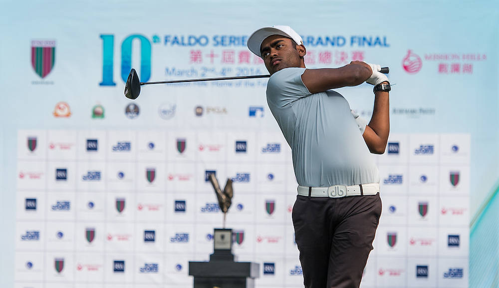 Arjun Prasad of India in action during day one of the 10th Faldo Series Asia Grand Final at Faldo course in Shenzhen, China. Photo by Xaume Olleros.