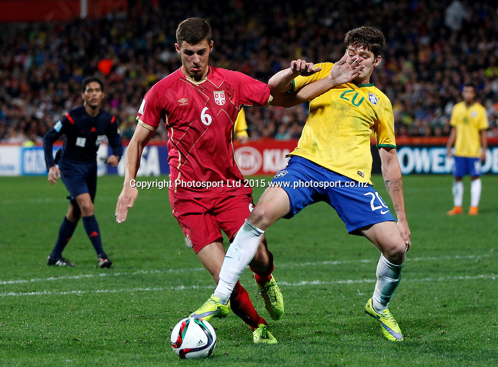 Serbia's Srdan Babic tangles with Brazil's Jean Carlos during the FIFA U20 World Cup Final, Serbia v Brazil, QBE Stadium, Auckland, Saturday 20th June 2015. Copyright Photo: Shane Wenzlick / www.photosport.nz