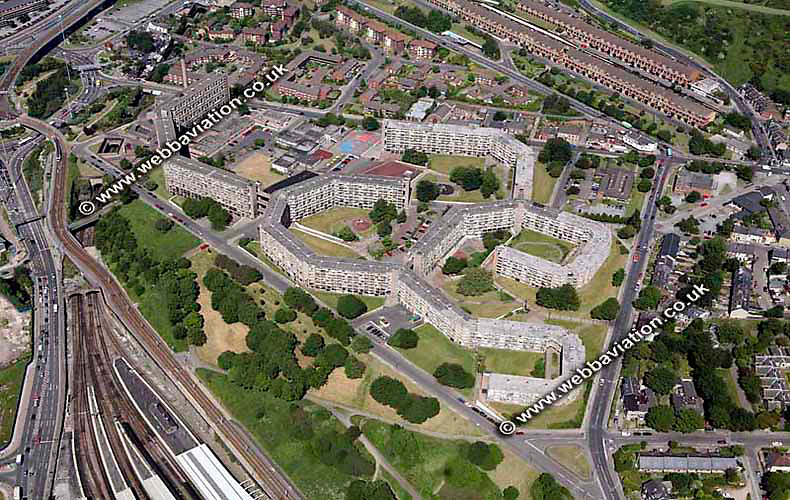 aerial photograph of the Park Hill Flats council housing estate in Sheffield West Yorkshire England UK