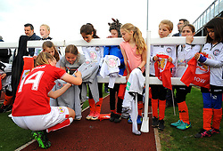 Lucy Graham of Bristol City signs autographs after the final whistle - Mandatory by-line: Nizaam Jones/JMP - 28/04/2019 - FOOTBALL - Stoke Gifford Stadium - Bristol, England - Bristol City Women v West Ham United Women - FA Women's Super League 1