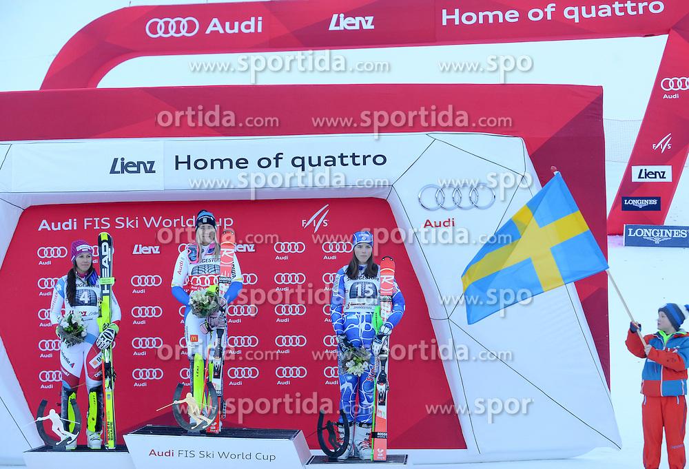 29.12.2015, Hochstein, Lienz, AUT, FIS Weltcup Ski Alpin, Lienz, Slalom, Damen, 2. Durchgang, im Bild v.l. Wendy Holdener (SUI, 2. Platz), Frida Hansdotter (SWE, 1. Platz) und Petra Vlhova (SVK, 3. Platz) // f.l. 2nd placed Wendy Holdener of Switzerland, Winner Frida Hansdotter of Sweden and 3rd placed Petra Vlhova of Slovakia during award ceremony after ladies Slalom of the Lienz FIS Ski Alpine World Cup at the Hochstein in Lienz, Austria on 2015/12/29. EXPA Pictures © 2015, PhotoCredit: EXPA/ Erich Spiess
