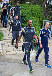 HAIFA, ISRAEL - Saturday, March 28, 2015: Wales' captain Ashley Williams and Hal Robson-Kanu on a team walk ahead of the UEFA Euro 2016 qualifying Group B match against Israel. Medical Officer Doctor Jon Houghton. (Pic by David Rawcliffe/Propaganda)