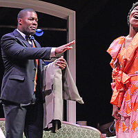 BENEATHA - Chasten Harmon and GEORGE MURCHISON - Oge Agulue perform on stage as part of the Chautauqua Theater performance of a Raisin in the Sun in the Bratton Theater at Chautauqua Institution July 2014 Photo by Mark L. Anderson