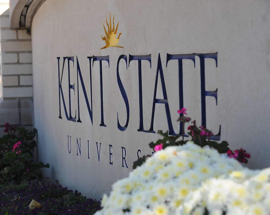 A sign welcomes visitors to the Kent State Campus, located at the May. H. Prentice Memorial Gate on the the corner of East Main and Lincoln is the oldest gateway onto campus. The gate was recently moved and refurbished.