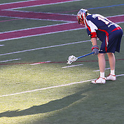 Brodie Merrill #17 of the Boston Cannons catches his breath during the game at Harvard Stadium on May 17, 2014 in Boston, Massachuttes. (Photo by Elan Kawesch)