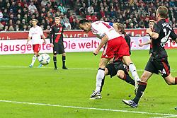 05.11.2011,  BayArena, Leverkusen, GER, 1.FBL, Bayer 04 Leverkusen vs Hamburger SV, im Bild.Heiko Westermann (Hamburg #4) setzt sich gegen Stefan Kiessling (Leverkusen #11) durch und trifft per Kopf zum 2:1..// during the 1.FBL, Bayer Leverkusen vs Hamburger SV on 2011/11/05, BayArena, Leverkusen, Germany. EXPA Pictures © 2011, PhotoCredit: EXPA/ nph/  Mueller       ****** out of GER / CRO  / BEL ******
