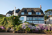 Thatched historic houses on the seafront at Paignton, Devon, England