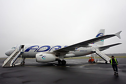 Adria's aircraft Airbus A319 at Airport Edvard Rusjan, Maribor, Slovenia, on March 28, 2011. (Photo by Vid Ponikvar / Sportida)