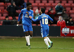 Jermaine Anderson of Peterborough United (left) celebrates scoring his first goal of the game with team-mate Erhun Oztumer - Mandatory byline: Joe Dent/JMP - 07966 386802 - 21/11/2015 - FOOTBALL - Alexandra Stadium - Crewe, England - Crewe Alexandra v Peterborough United - Sky Bet League One