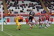 29th September 2018, Hope CBD Stadium, Hamilton, Scotland; Ladbrokes Premiership football, Hamilton versus Dundee; Andy Boyle of Dundee scores for 1-0 in the 38th minute
