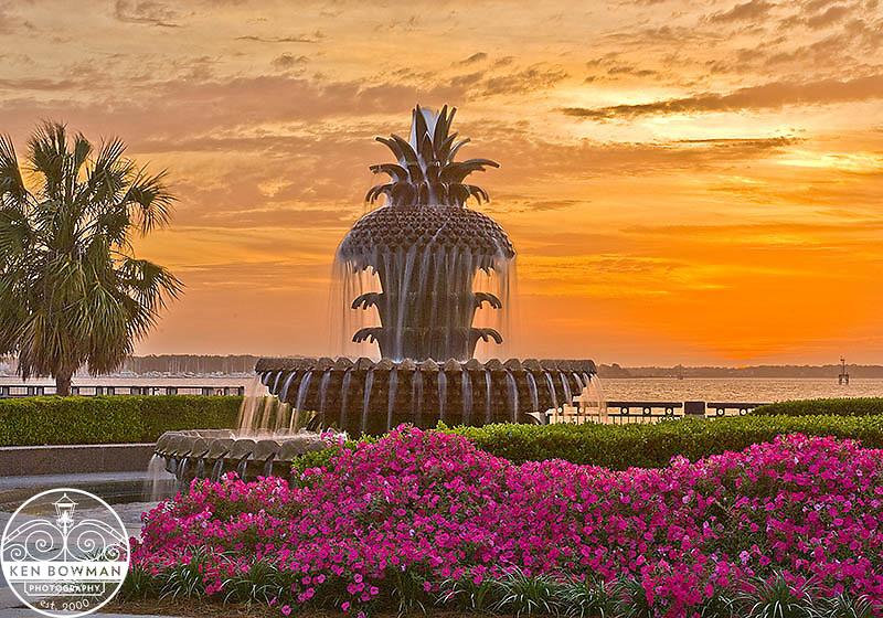 Sunrise at Waterfront Park Pineapple Fountain