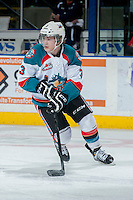 KELOWNA, CANADA -FEBRUARY 19: Riley Stadel #3 of the Kelowna Rockets skates against the Tri City Americans on February 19, 2014 at Prospera Place in Kelowna, British Columbia, Canada.   (Photo by Marissa Baecker/Getty Images)  *** Local Caption *** Riley Stadel;