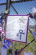"Prince 1958-2016 R.I.P. ""Love Symbol"" Purple Rain poster First Ave Star. Paisley Park Studios Chanhassen Minnesota MN USA"