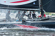 Alinghi practice racing on practice day for the Cardiff Extreme Sailing Series Regatta. 21/8/2014
