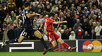 Photo: Paul Thomas.<br /> Liverpool v Bordeaux. UEFA Champions League, Group C. 31/10/2006.<br /> <br /> Luis Garcia (R) of Liverpool scores.