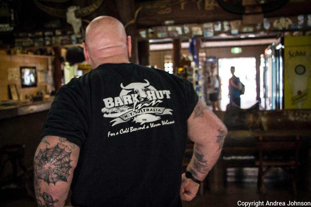 Bartendar Kevin Carter, Bark Hut Inn roadhouse pub, Northern Territory, Australia