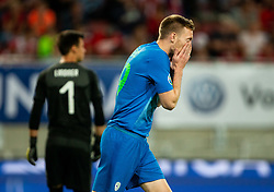 Robert Berić of Slovenia reacts during the 2020 UEFA European Championships group G qualifying match between Austria and Slovenia at Wörthersee Stadion on June 7, 2019 in Klagenfurt, Austria. Photo by Vid Ponikvar / Sportida