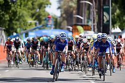 Tayler Wiles leads the bunch at Amgen Breakaway from Heart Disease Women's Race empowered with SRAM (Tour of California) - Stage 4. A 20 lap criterium in Sacramento, USA on 14th May 2017.