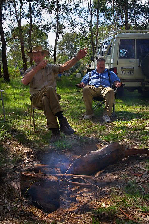 Lionel Swift (left), and Robert Hodder telling story at the camp fire. Opening of duck hunting season on the Murray Rive near Howlong. Pic By Craig Sillitoe CSZ/The Sunday Age. 19/3/2011 This photograph can be used for non commercial uses with attribution. Credit: Craig Sillitoe Photography / http://www.csillitoe.com<br />