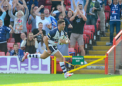 Bristol Inside Centre Ben Mosses runs in the winning try  - Photo mandatory by-line: Joe Meredith/JMP - Mobile: 07966 386802 - 7/09/14 - SPORT - RUGBY - Bristol - Ashton Gate - Bristol Rugby v Worcester Warriors - The Rugby Championship