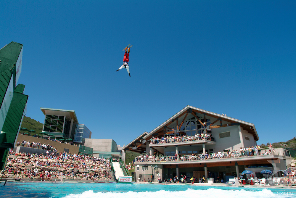 Freestyle Big Air show in splash pool at Utah Olympic Park