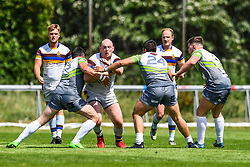 Whitehavens' Carl Forster is tackled by West Wales Raiders' Alan Pope<br /> <br /> Photographer Craig Thomas/Replay Images<br /> <br /> Betfred League 1 - West Wales Raiders v Whitehaven  - Saturday 23rd June 2018 - Stebonheath Park - Llanelli<br /> <br /> World Copyright © 2017 Replay Images. All rights reserved. info@replayimages.co.uk - www.replayimages.co.uk
