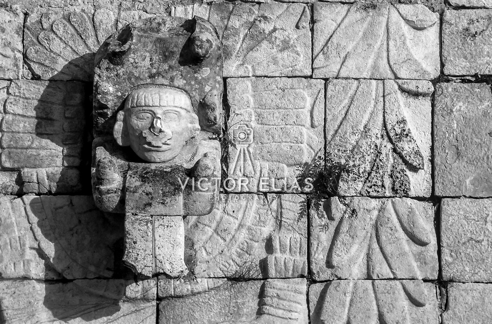 Labna # 2           Detail of warrior. Labna, Yucatan. Mexico.