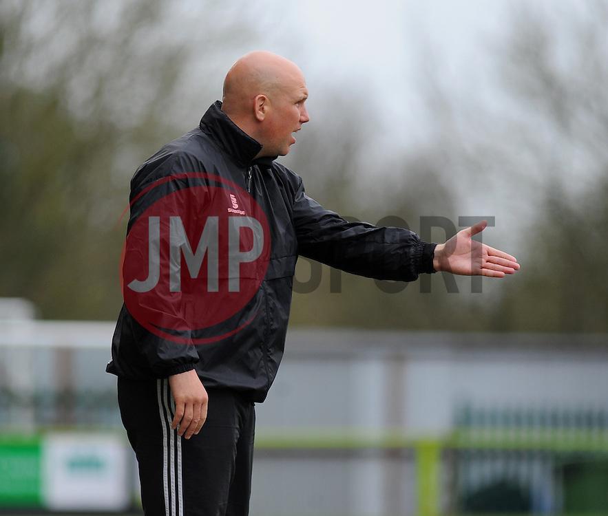 Aldershot Town Caretaker Manager, Chris Barker gives orders from the side line - Photo mandatory by-line: Nizaam Jones - Mobile: 07966 386802 - 03/04/2015 - SPORT - Football - Nailsworth - The New Lawn - Forest Green Rovers v Aldershot Town - Vanarama Football Conference