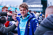 Leeds United forward Patrick Bamford (9) arrives at the ground during the EFL Sky Bet Championship match between Leeds United and Sheffield Wednesday at Elland Road, Leeds, England on 11 January 2020.