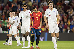 October 15, 2018 - Seville, Spain - RODRIGO of Spain (C) laments after missing a chance at goal during the UEFA Nations League Group A4 soccer match between Spain and England at the Benito Villamarin Stadium (Credit Image: © Daniel Gonzalez Acuna/ZUMA Wire)