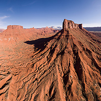USA, Utah, Moab, Aerial view of cliffs at Parriott Mesa along Colorado River on winter afternoon