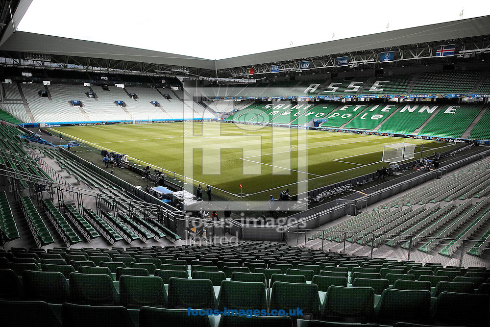 General view of the stadium pictured ahead of the UEFA Euro 2016 match at Stade Geoffroy-Guichard, Saint-&Eacute;tienne, France<br /> Picture by Kristian Kane/Focus Images Ltd 07814482222<br /> 14/06/2016