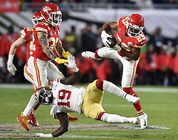 February 2, 2020, Miami Gardens, FL, USA: Kansas City Chiefs cornerback Kendall Fuller (29) intercepts a pass intended for San Francisco 49ers wide receiver Deebo Samuel (19) to secure the win for Kansas City in Super Bowl 54 on Sunday, Feb. 2, 2020 at Hard Rock Stadium in Miami Gardens, FL. (Credit Image: © TNS via ZUMA Wire)