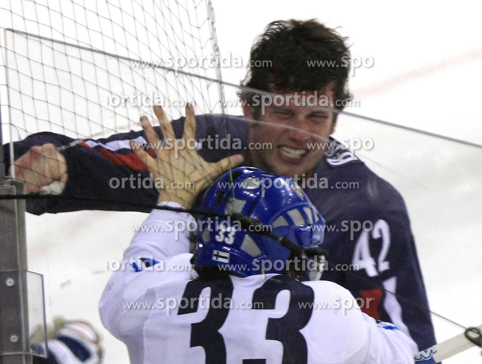 Anssi Salmela (33) of Finland fight with David Backes of USA  at ice-hockey match Finland vs USA at Qualifying round Group F of IIHF WC 2008 in Halifax, on May 11, 2008 in Metro Center, Halifax, Nova Scotia, Canada. (Photo by Vid Ponikvar / Sportal Images)