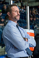 KELOWNA, CANADA - NOVEMBER 12: Kelowna Rockets head coach, Jason Smith, stands on the bench during warm up against the Prince Albert Raiders on November 12, 2016 at Prospera Place in Kelowna, British Columbia, Canada.  (Photo by Marissa Baecker/Shoot the Breeze)  *** Local Caption *** Jason Smith;