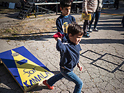 12 OCTOBER 2019 - DES MOINES, IOWA: Children play a game before Sen. Kamala Harris spoke at a block party. Sen. Harris attended a neighborhood block party in Des Moines as a part of her campaign to be the Democratic nominee for the US presidency in 2020. Iowa traditionally holds the first selection of the presidential election cycle. The Iowa caucuses are Feb. 3, 2020.        PHOTO BY JACK KURTZ