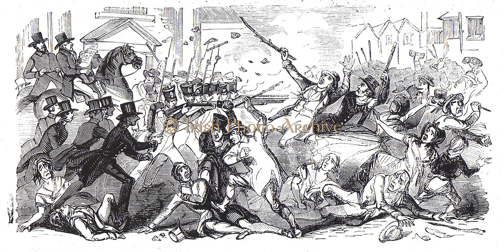 Chartism, a movement for social and political reform took its name from The People's Charter of 1838.  The great 'turn out', August 1842:  At Preston, Lancashire, police, advance on a crowd into which the troops are firing.  Two rioters shot.  From 'The Illustrated London News', 20 August 1842.