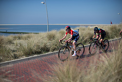 Christine Majerus (LUX) of Boels-Dolmans Cycling Team and Barbara Guarischi (ITA) of CANYON//SRAM Racing approach the beach in lap five during Stage 5 of the Healthy Ageing Tour - a 117.9 km road race, starting and finishing in Borkum on April 9, 2017, in Groeningen, Netherlands.
