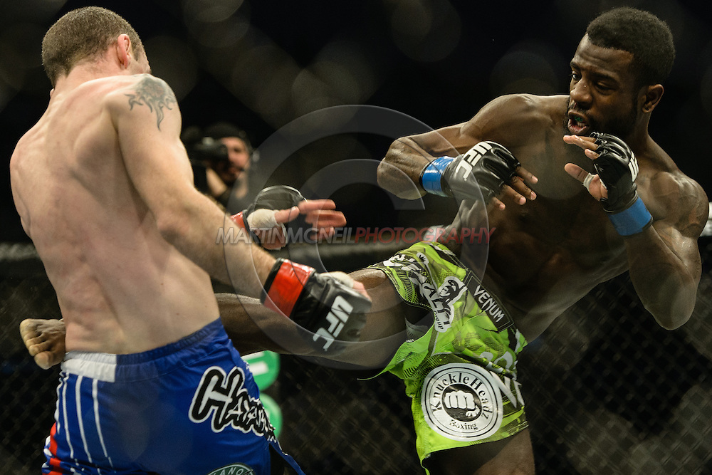"STOCKHOLM, SWEDEN, JANUARY 24, 2015: Neil Seery vs. Chris Beal during ""UFC on Fox 14: Gustafsson vs. Johnson"" inside Tele2 Arena in Stockholm, Sweden"