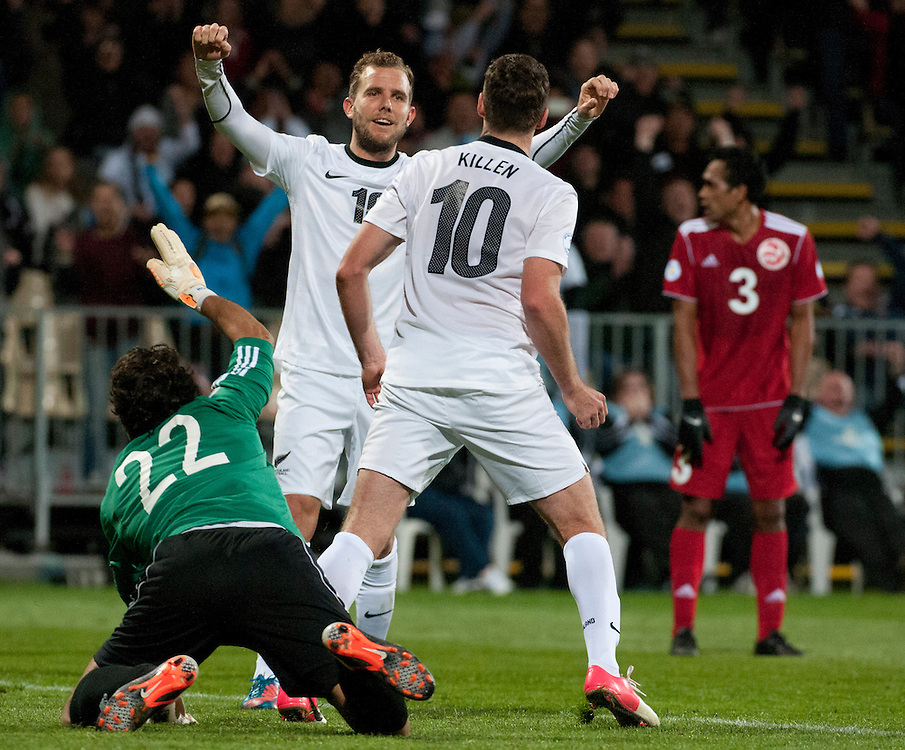 New Zealand's  Chris Killen celebrates scoring the second goal with Jeremy Brockie against Tahiti in a FIFA World Cup Qualifier Match at the AMI Stadium, Christchurch, New Zealand, Tuesday, October 16, 2012. Credit :  SNPA / David Alexander