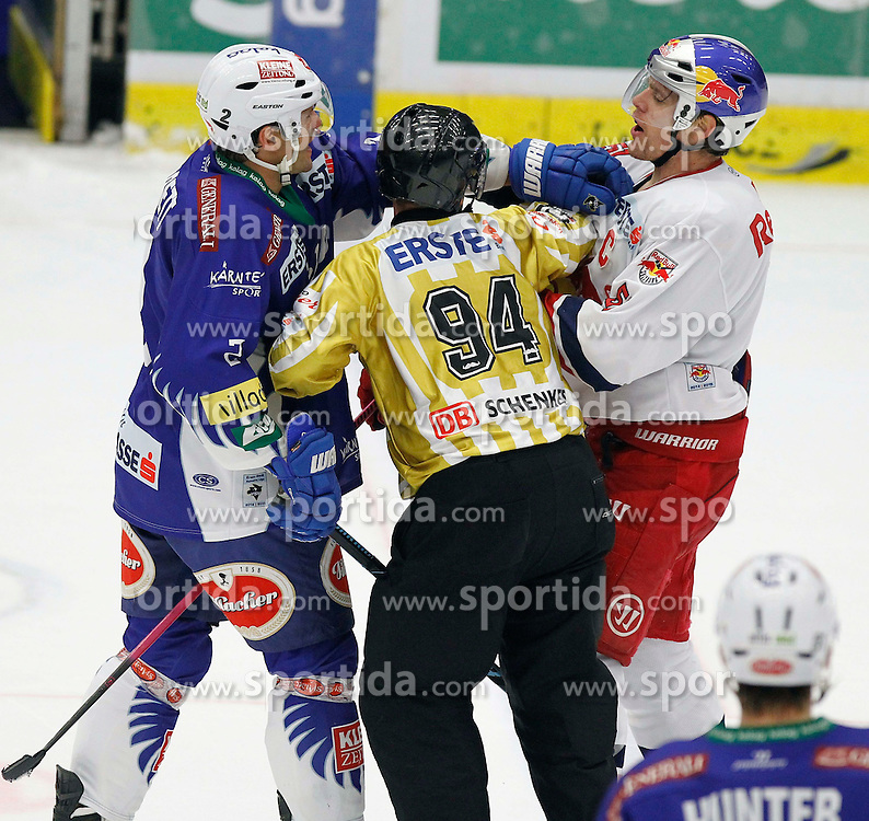 21.11. 2014, Stadthalle, Villach, AUT, EBEL, EC VSV vs EC Red Bull Salzburg, 19. Runde, im Bild v.l.Cole Jarrett (VSV) und Matthias Trattnig (EC RBS) // during the Erste Bank Icehockey League 19th round match between EC VSV vs EC Red Bull Salzburg at the City Hall in Villach, Austria on 2014/11/21, EXPA Pictures © 2014, PhotoCredit: EXPA/ Oskar Hoeher