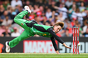 17th February 2019, Marvel Stadium, Melbourne, Australia; Australian Big Bash Cricket League Final, Melbourne Renegades versus Melbourne Stars; Adam Zampa of the Melbourne Stars dives for the ball