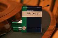 A copy of the President's FY 2009 Budget photographed in the Senate Budget Committee hearing room of the Dirksen Senate Office Building in Washington, DC  on February 4, 2008.  Photograph: Dennis Brack