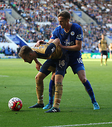 Aaron Ramsey of Arsenal (L) and Andy King of Leicester City  - Mandatory byline: Jack Phillips/JMP - 07966386802 - 26/09/2015 - SPORT - FOOTBALL - Leicester - King Power Stadium - Leicester City v Arsenal - Barclays Premier League