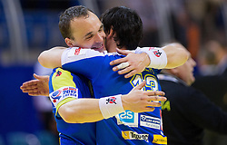 Peter Pucelj and David Spiler of Slovenia celebrate after the handball match between Iceland and Slovenia in  3rd Round of Preliminary Round of 10th EHF European Handball Championship Serbia 2012, on January 20, 2012 in Millennium Center, Vrsac, Serbia. Slovenia defeated Iceland 34-32. (Photo By Vid Ponikvar / Sportida.com)