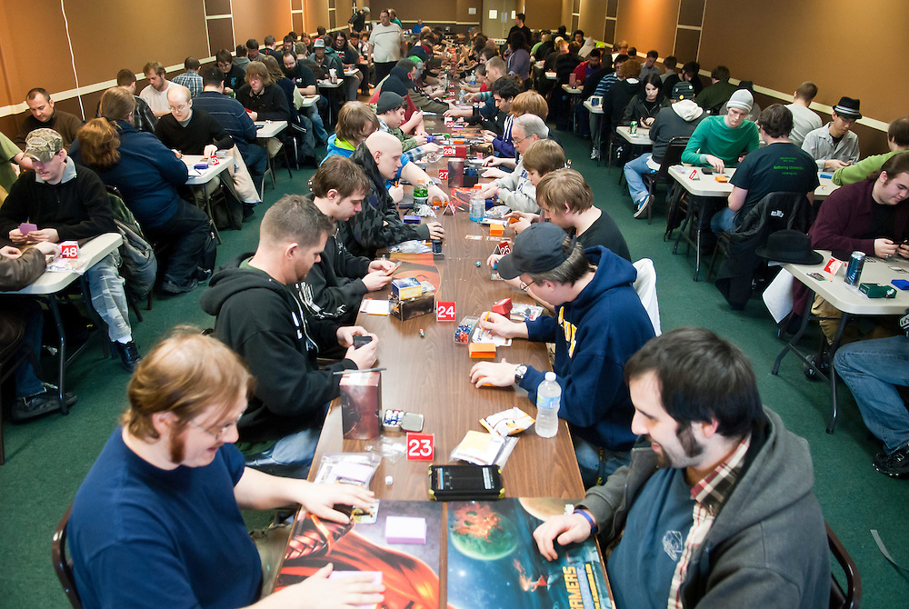 Lathan Goumas | The Flint Journal..January 28, 2012 - People fill the Kabob City event hall in Flint Township for a Magic: The Gathering Dark Ascension pre-release tournament sponsored by Gamer's Sanctuary on Saturday. The event allows people a chance to play the game the week prior to it official release.